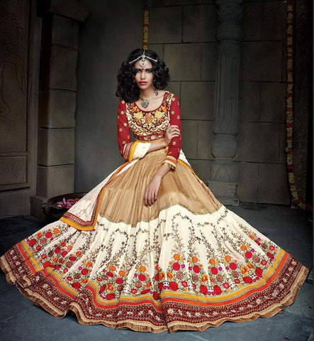 Designer white beige and red net and Georgette lehengafor weddings