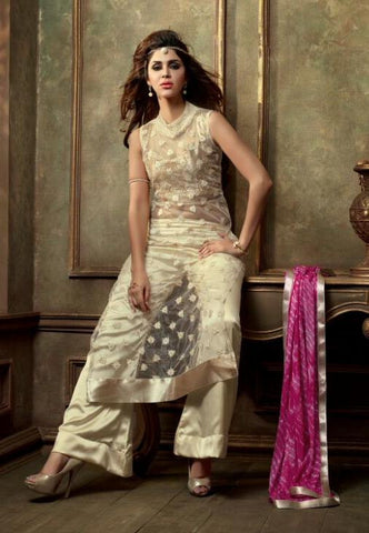 Straight knee length beige suit with pink dupatta