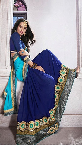 Navy Blue Color Georgette Jacquard Saree With Raw Silk Blouse