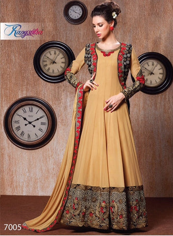 Anarkali floor length long embroidered semi stitched with chiffon dupatta with resham work border