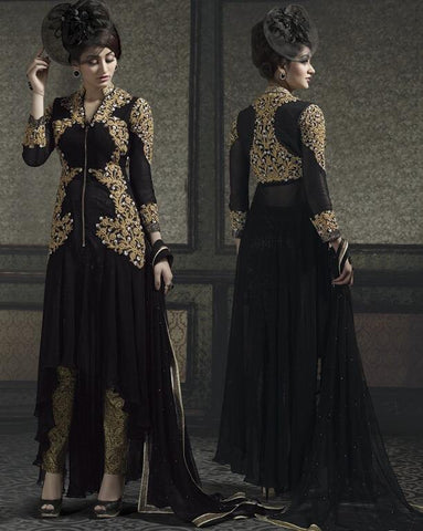 Black,Georgette,Designer heavy long embroidery suits