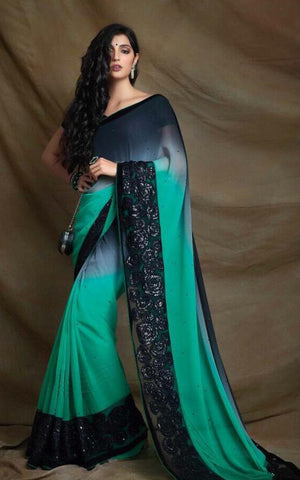 Designer Turquoise Blue with Black Contrast Saree