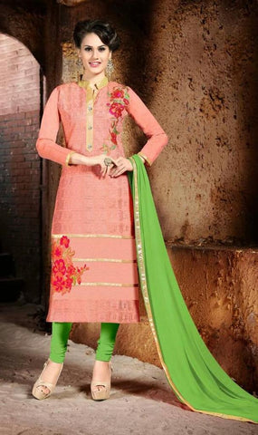 Suits Peach & Green,pure chanderi