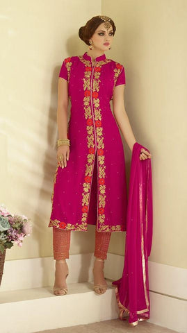 Pink straight knee length suits with georgette fabric