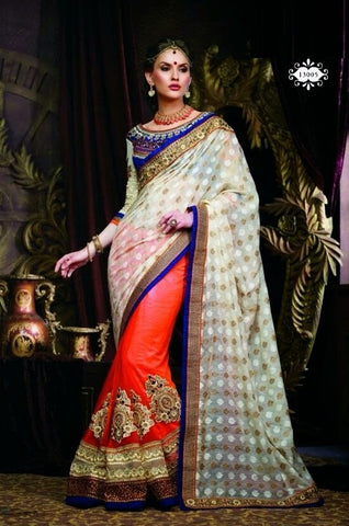 Saree Faux GeorgetteBlouse :Fancy,Red,beige,blue