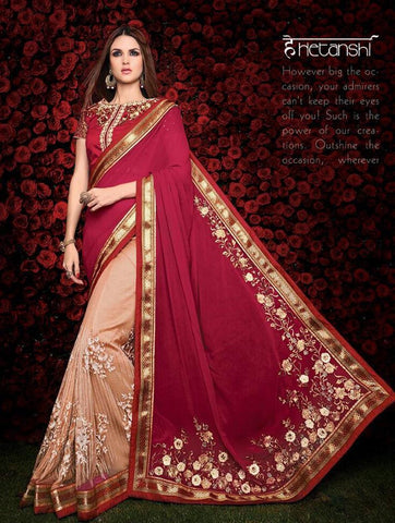 Designer red and peach saree for parties