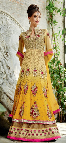 Anarkali suits Yellow,Georgette