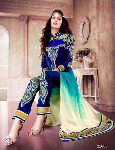 Anarkali suitsBlue,Fox georgette