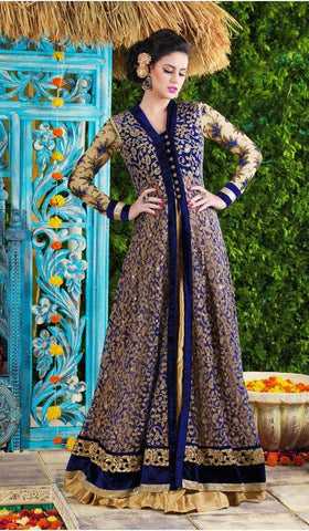 Long designer floor length heavy embroidery blue suits with chiffon dupatta
