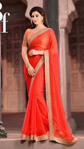 Saree Red  ,Chiffon