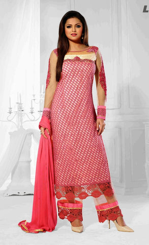 Semi stitched suits,fabric net,color pink