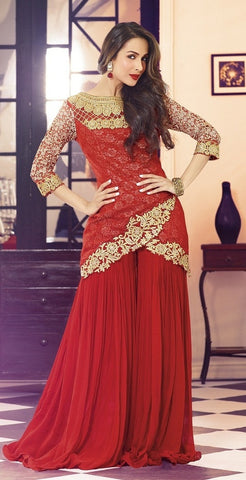 Designer red suits with heavy work semi stitched suits