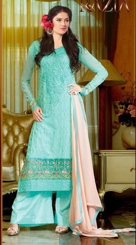 Blue designer knee length long salwar suits with embroidered work