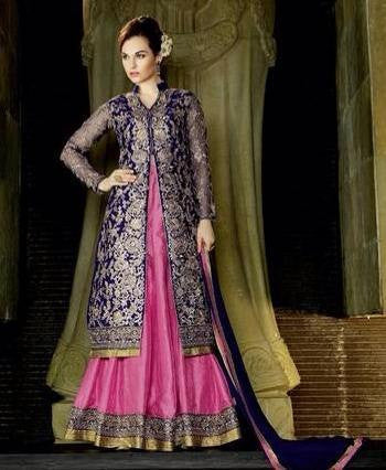 Blue and Pink long designer suits with Net and silk