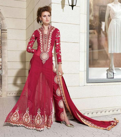 Red designer full length long heavy embroidered semi stitched salwar suits