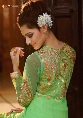 Light green Salwar Suit with golden work