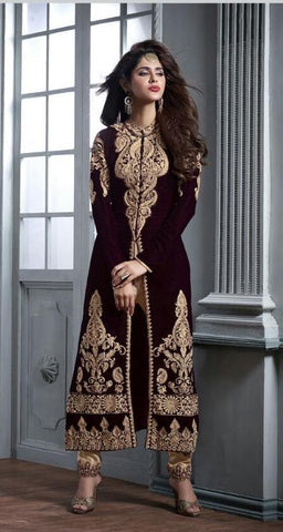 Maroon , Beige,velvet,Designer staight long suits with velvat fabric