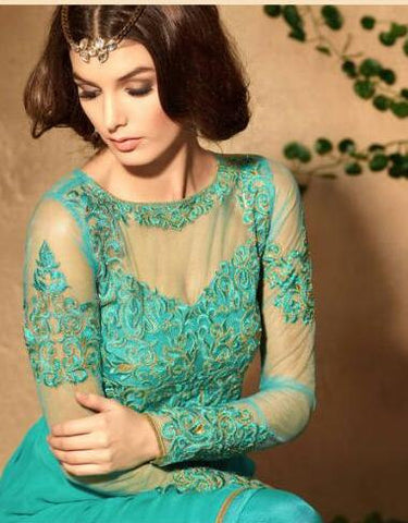 Cyan,Georgette,Designer party wear suits