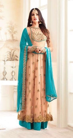 Beige Net Front Slit Anarkali Suit With Blue Dupatta