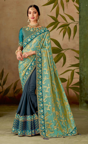 Teal Blue  Dual Tone Silk Party Wear Saree With Blue Blouse
