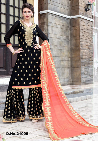 Black Georgette Sharara Suit With Orange Dupatta