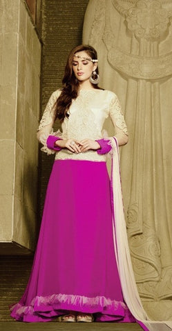 Purple , Cream,Georgette,Heavy designer party wear anarkali suits