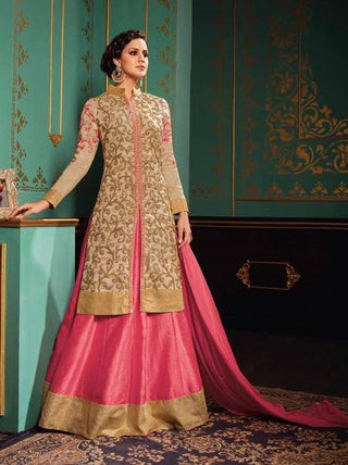 Beige & Pink Silk Suits With Pink Dupatta