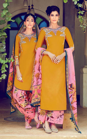 Yellow , Pink,Cotton,Patiyala suits designer suits