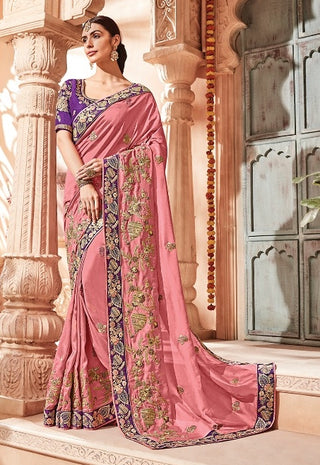 Pink Georgette Party Wear  Saree With Purple Blouse