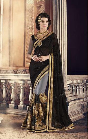 Black , Grey,Georgette,Heavy party werar designer saree