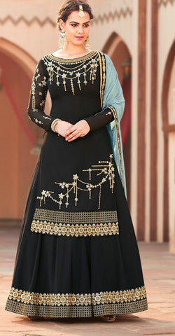 Black Georgette Party Wear  Suit With  Dupatta
