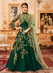 Green Silk Backless Anarkali Type Dress With Dupatta