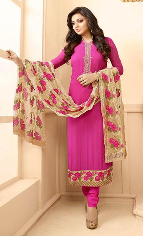 Pink,Georgette,Heavy designer party wear suits