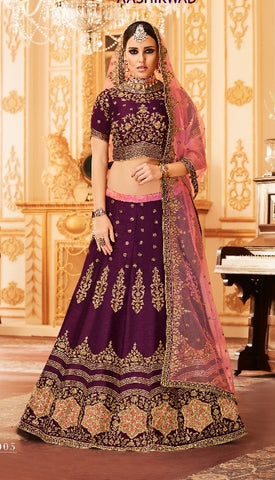 Purple Lehenga Of Silk With Embroidery And With Choli And Dupatta