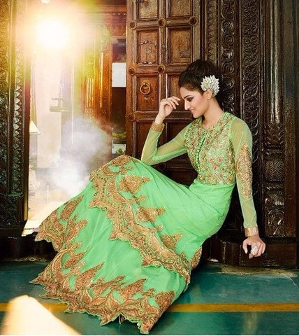 best light green anarkali suits