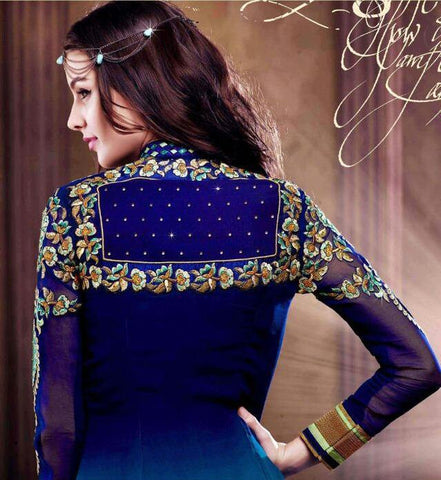 Blue designer heavy embroidered long semi stitched suits