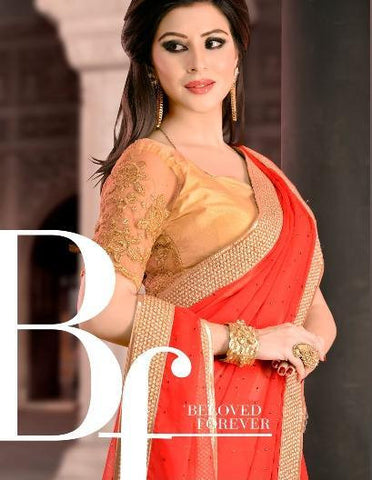 Red Party Wear Chiffon Saree with Light Stone work and lace border