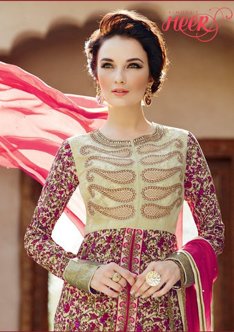 Heer Straight Knee length Crepe Pink Salwaar Suit