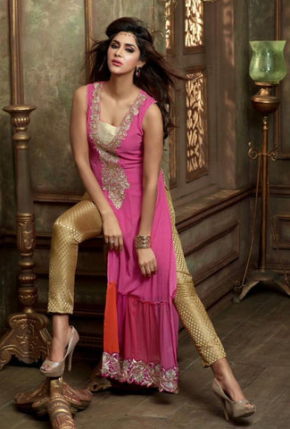 Pink long designer suits with georgette fabric