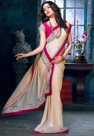 Designer Light Brown Saree for parties