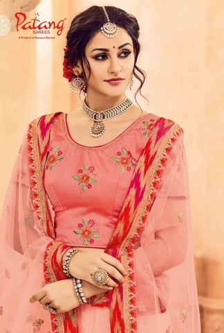 Pink Butterfly Net Lehenga With Pink Dupatta