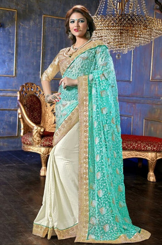 Saree Aqua,Net