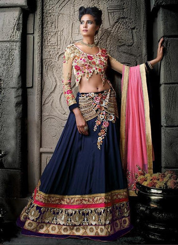 Heavy embroidery designer bridal lehenga with heavy work,Blue , beige,Georgette