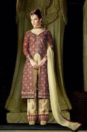 Maroon and Beige designer suits with bemberg chiffon dupatta