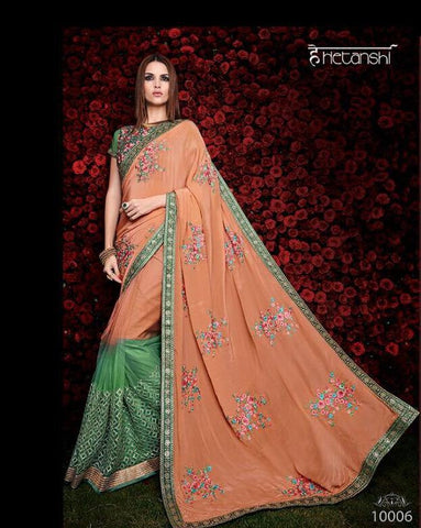 Designer Green and peach saree for parties and wedding