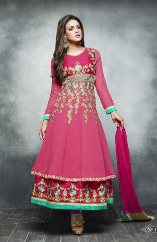 Pink,Georgette,Designer suits,suits,party wear,anarkali,embroidered suits,heavy suits,kaya,salwar suits,salwar