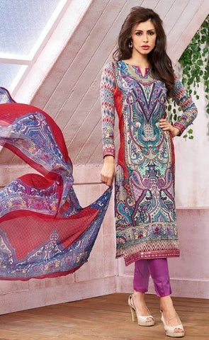 printed multicolor straight salwar suits dress material