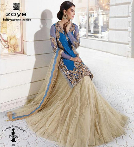 Blue and beige embroidered knee length salwar suits
