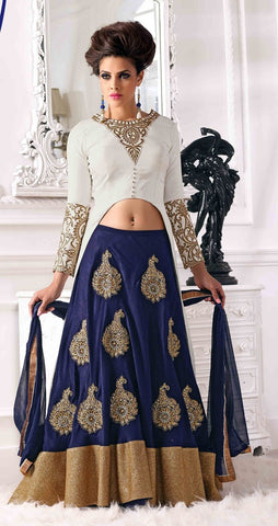 Blue and white velvet designer long with heavy embroidery on bottom lehenga style suits
