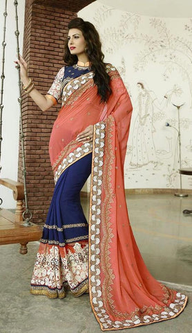Peach , Blue,Bemberg,Designer wedding saree with heavy embroidery work